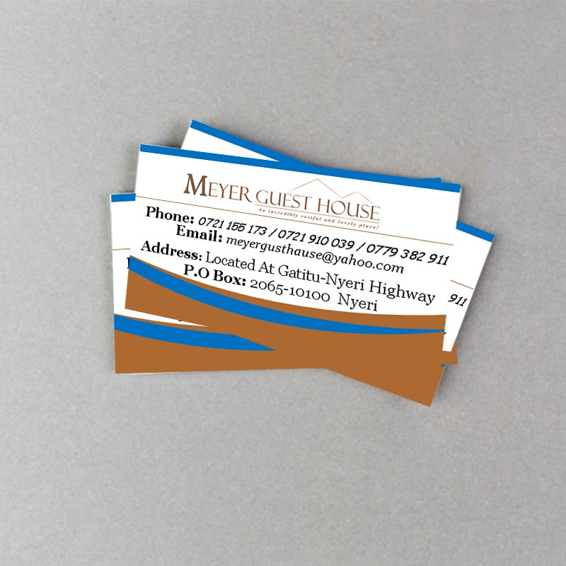 A business card design for Meyer Guest House