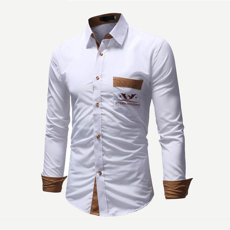 a beige neck and sleeve ends contrasting branded t-shirt