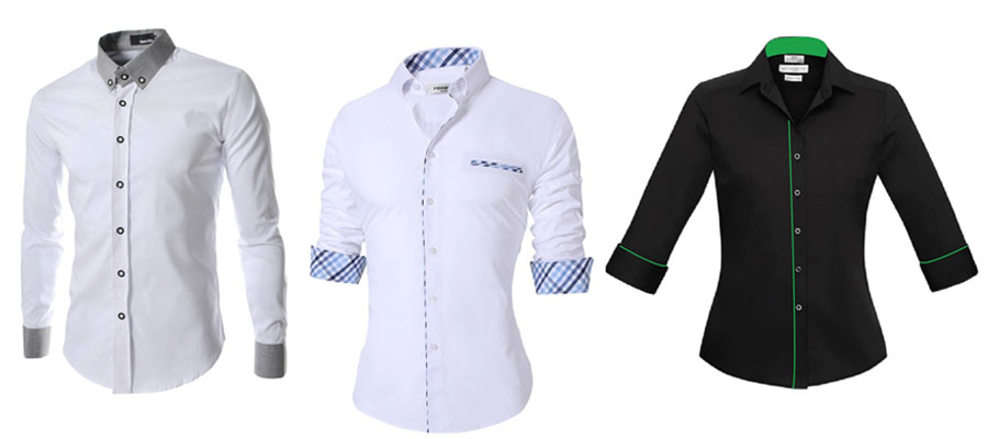 3 shirts with sleeve length variations (full, 3/4)