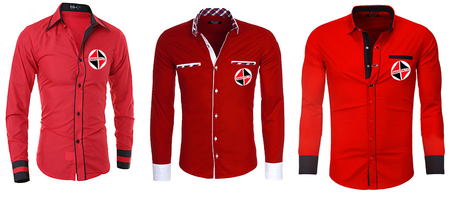 3 red shirts with different tailored designs