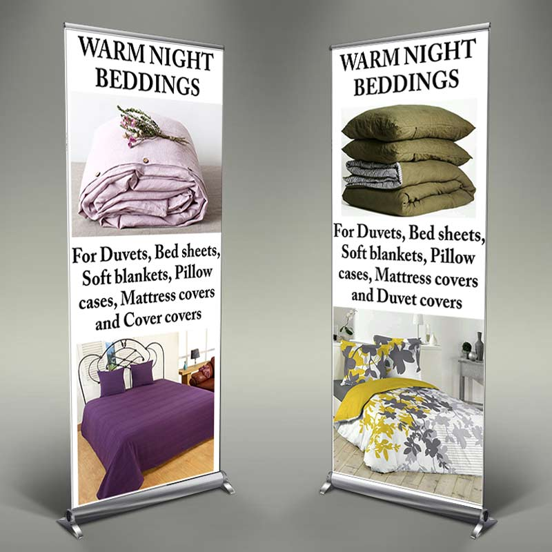 Warm Night Beddings Rollup Banner Design